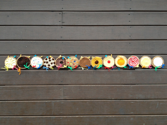 a row of crochet cookies