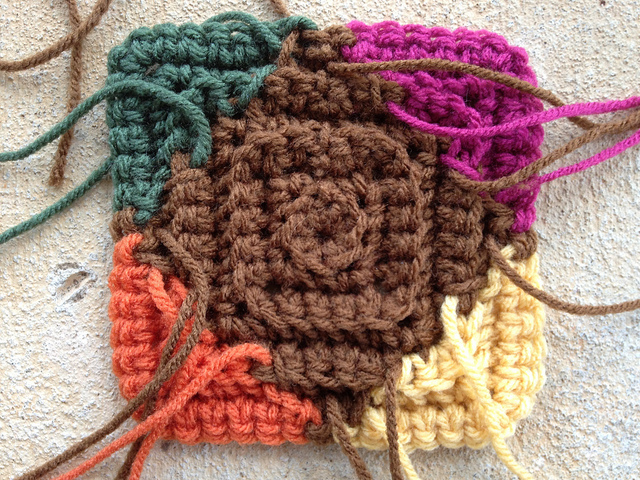 multicolor textured crochet motif
