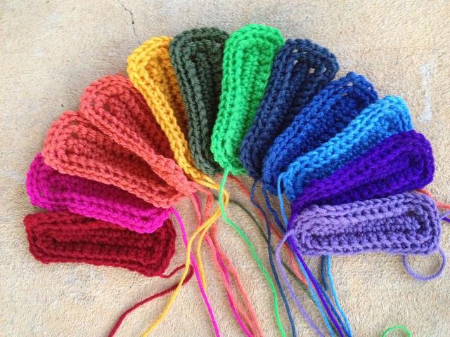 A rainbow of textured crochet rectangles