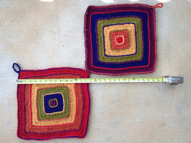 crochet potholders ready to be felted