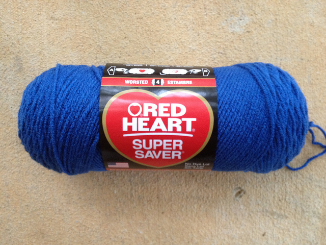 Red Heart blue suede yarn
