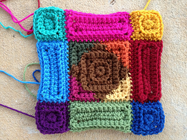 crochet squares and crochet rectangles made into a crochet motif