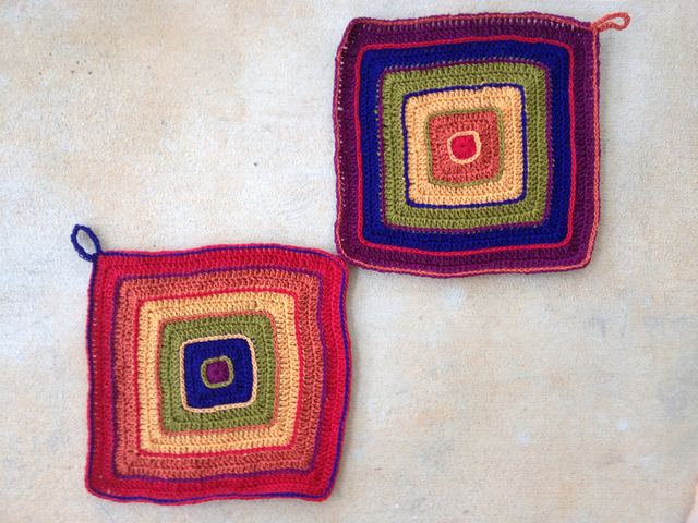 wo multicolor rainbow crochet potholders ready for felting