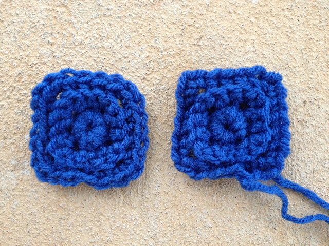 textured crochet squares worked in blue yarn
