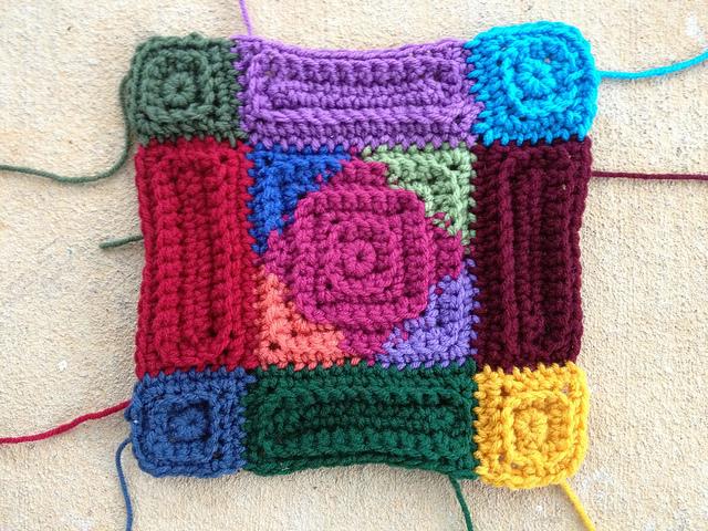 mutlicolor textured crochet square motif