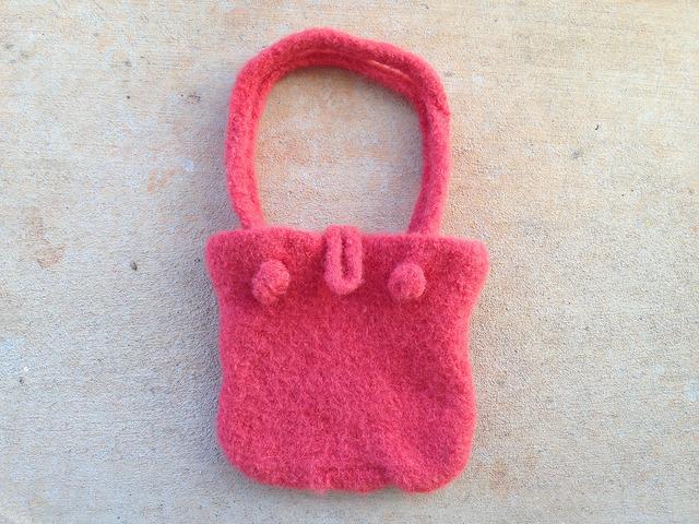damp felted crochet purse