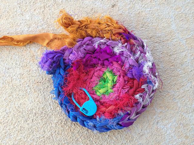 sari strip crochet hot pad