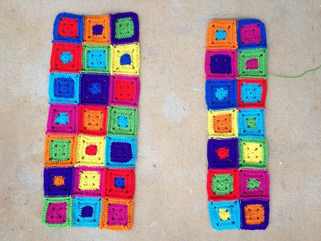 two panels of crochet squares
