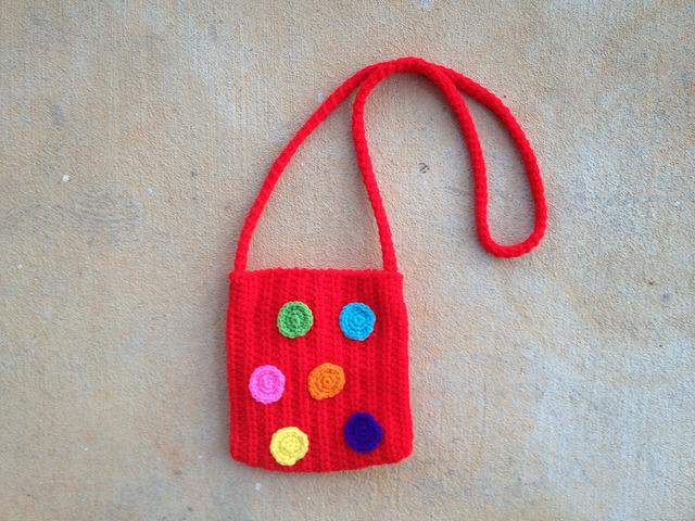 hot red crochet purse