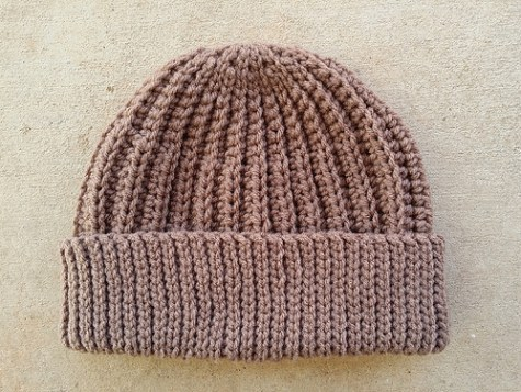 The crochet seafarer's hat  made with an I hook