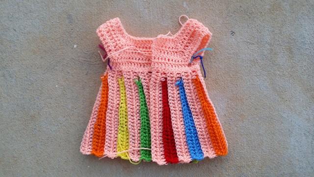 yoke for the Eloise crochet sweater, crochetbug, jackson pollock, crochet baby sweater