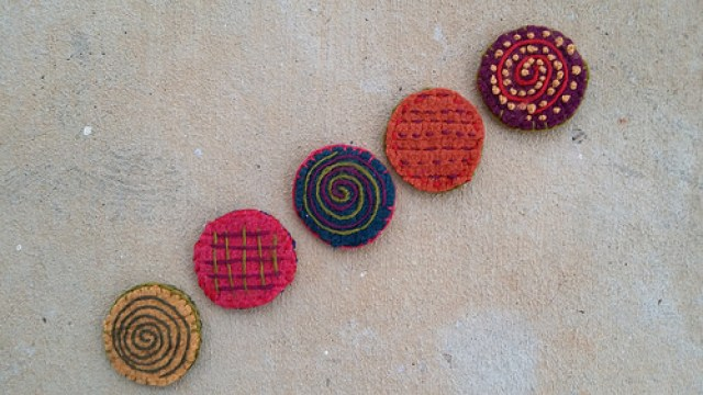 felted crochet table leg coasters