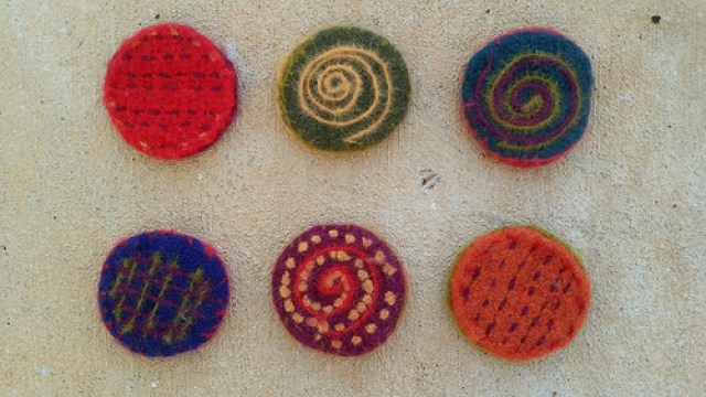 felted crochet coasters