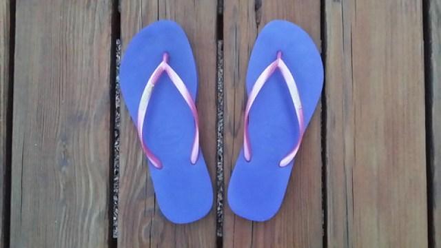 purple and pink flip flops