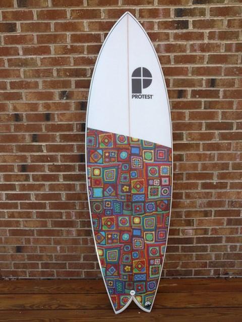 crochet beach blanket inspired surfboard