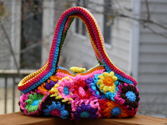 crochet flower crochet bag