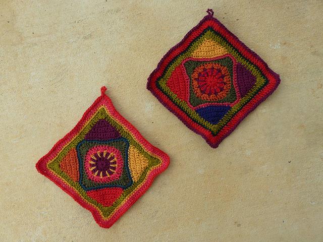 wool crochet potholders