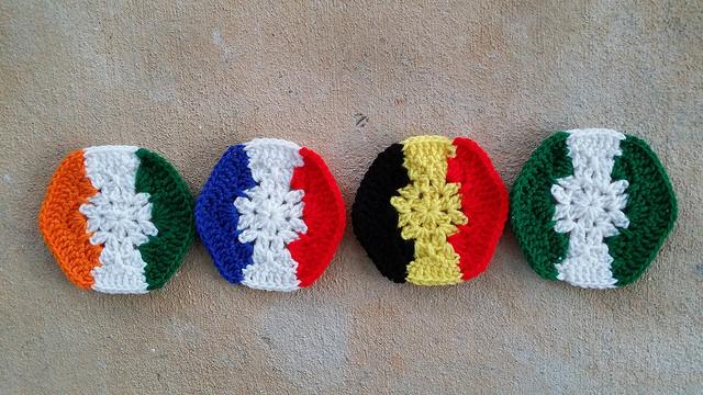 Crochet hexagons for a crochet soccer ball inspired by four vertical stripe flags