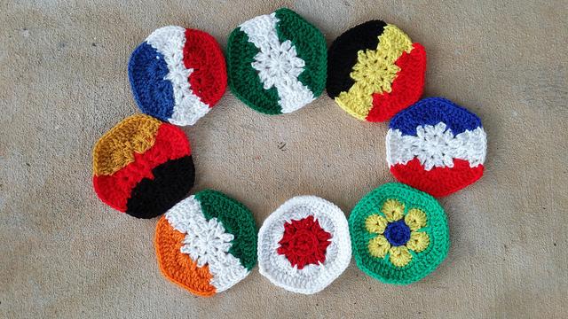 Group photo of crochet hexagons for a crochet soccer ball