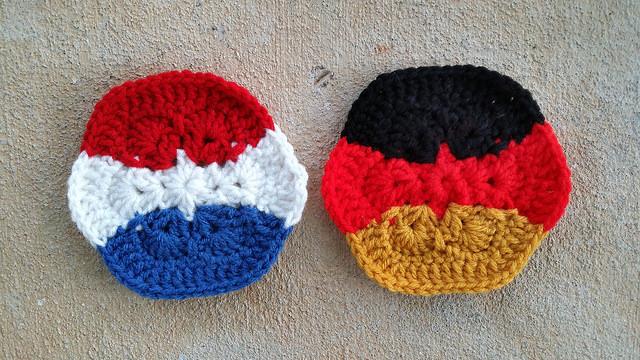 Two horizontal stripe crochet hexagons for a crochet soccer ball celebrating the 2014 world cup