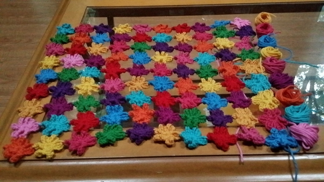 six petal crochet flowers join as you go shawl