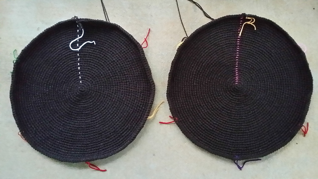 two large crochet circles for a crochet pet bed