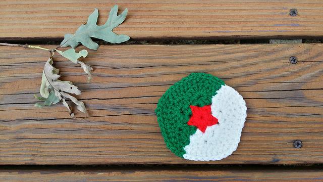 Algeria inspired crochet pentagon for a crochet soccer ball