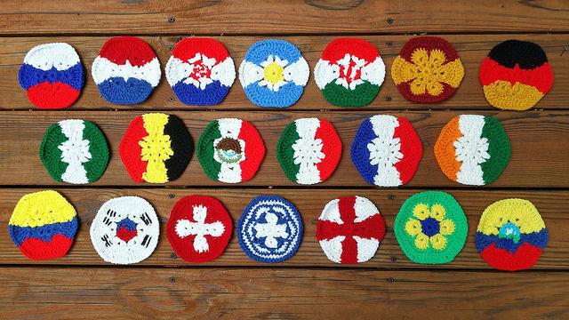 twenty crochet hexagons