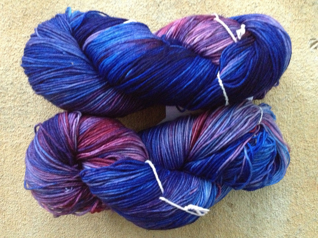 hand-dyed fingering weight yarn