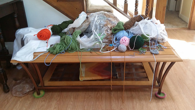 a yarn covered table