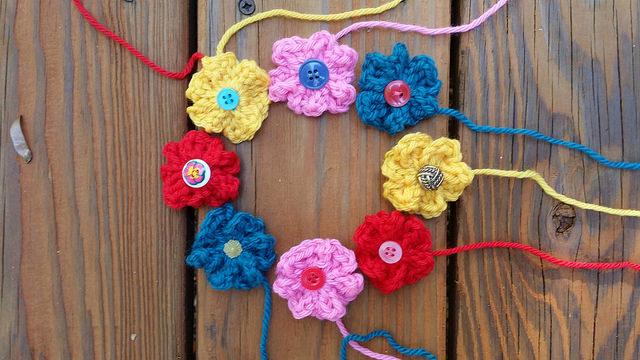 eight crochet flowers