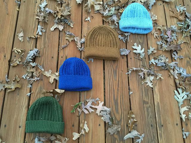 four ribbed stitch crochet caps