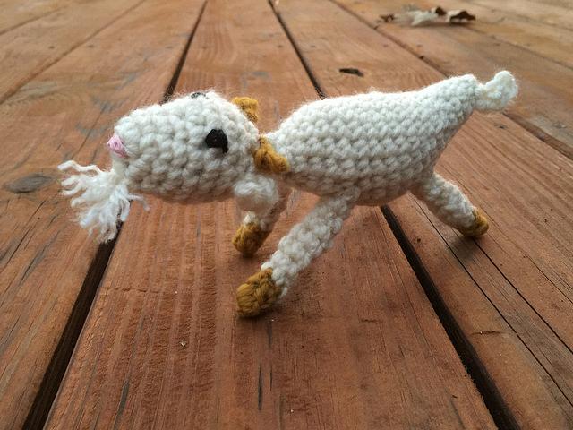 crochet goat in action