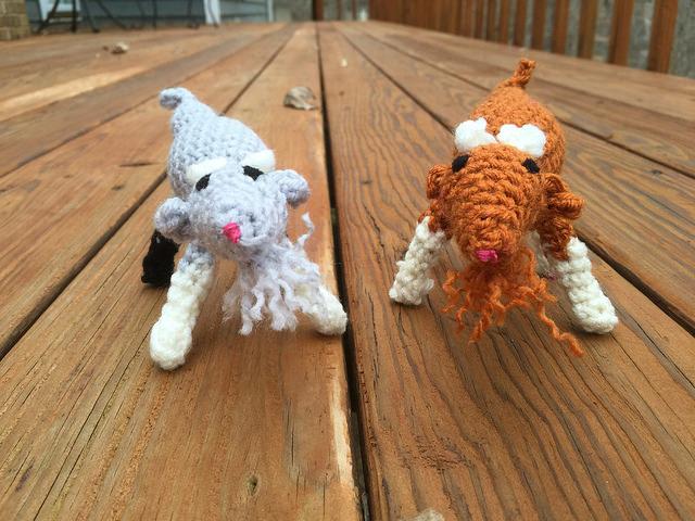two crochet goats