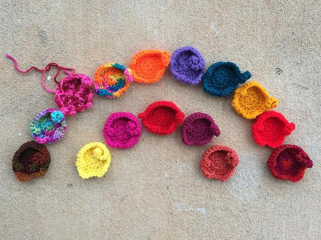 rainbow of crochet elephants