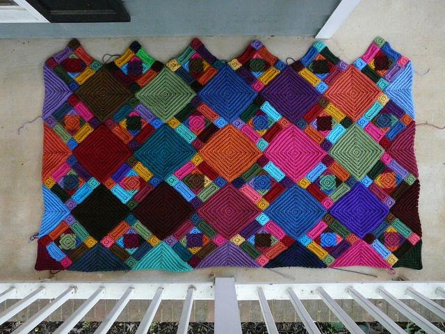 multicolor textured crochet blanket