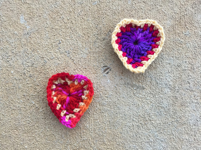 two boho crochet hearts