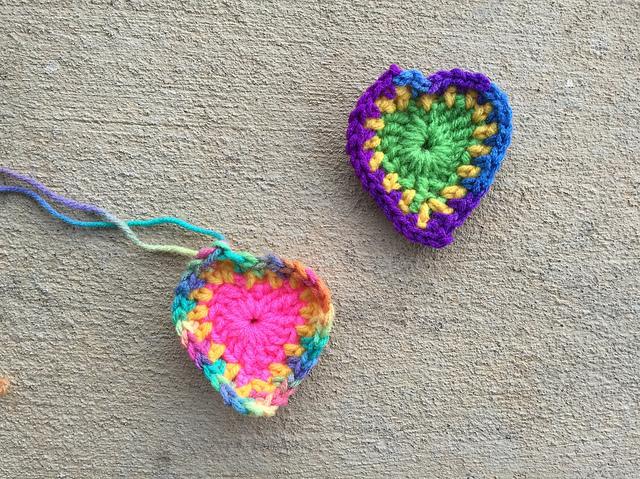 boho crochet hearts