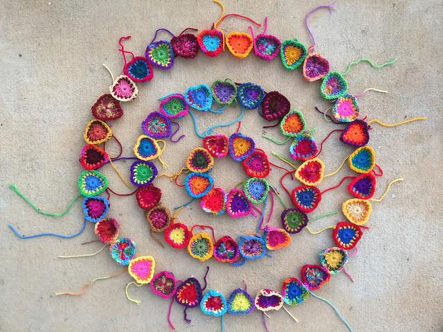 crochet hearts concentric circles