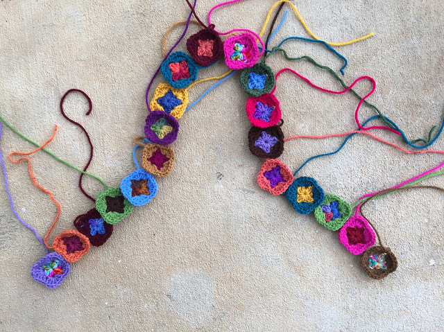 granny square crochet purse strap