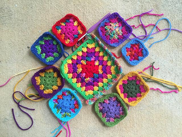 an arrangement of granny squares
