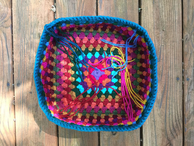 granny square crochet basket