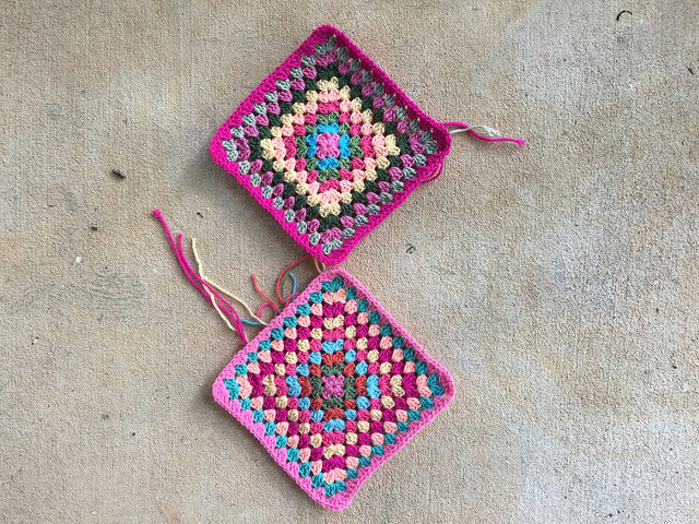 two large granny squares crochet bag