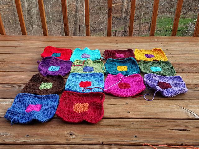 fourteen crochet squares