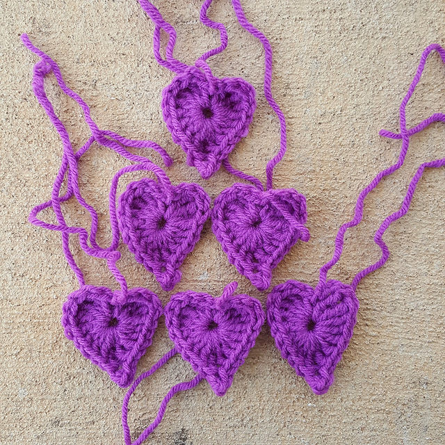 orchid crochet hearts