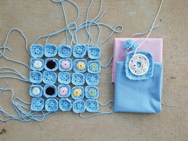 crochet donut bag fabric lining