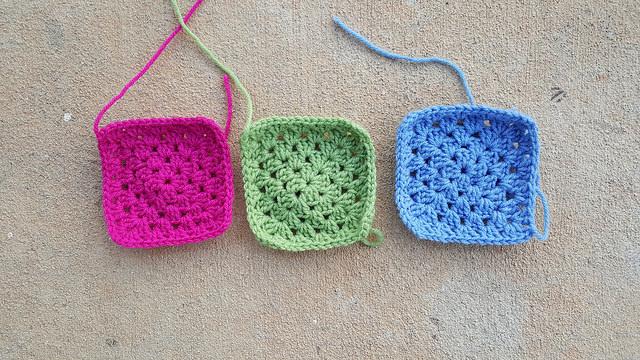 three solid granny squares
