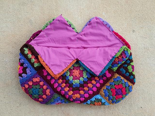 fabric lined granny square purse