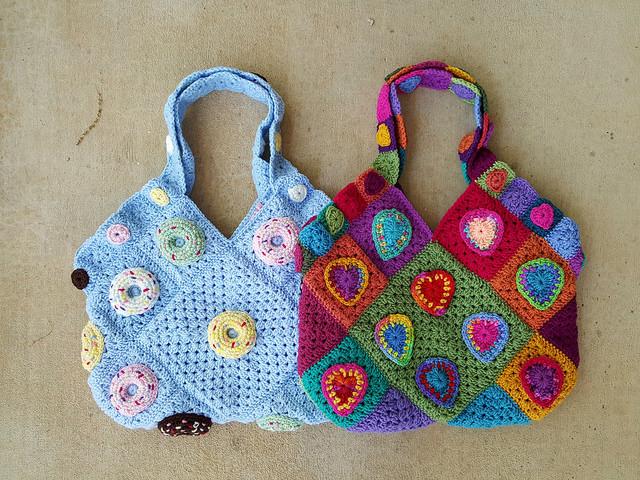 granny square crochet bags