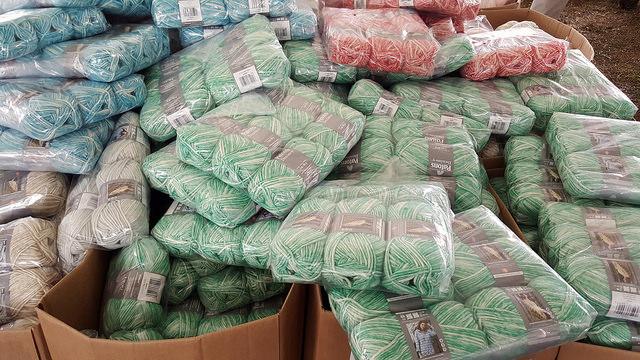 bins of yarn at the sale